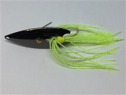 1/2 oz. Black Gator Weedless Spoon with Chartreuse Skirt Trailer.