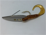 1/4 oz. Chrome Gator Weedless Spoon - Root Beer Worm Trailer.