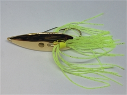 1/4 oz. Gold Gator Weedless Spoon - Chartreuse Skirt Trailer